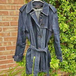 Ralph Lauren blue denim trench coat XL